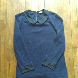 J. Crew Peter Pan Collar Navy Blouse XS G